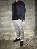 こうでぃ〜さんの「MEN カシミヤクルーネックセーター(長袖)(ユニクロ|ユニクロ)」を使ったコーディネート