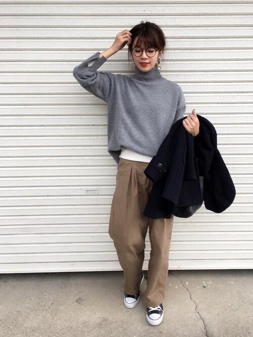 miisuuzuukiiさんの「ウール混タートルニット セーター スタンドネック(MODE ROBE)」を使ったコーディネート