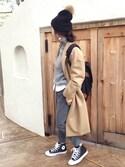 miisuuzuukiiさんの「ウール混タートルニット セーター スタンドネック(MODE ROBE|モードローブ)」を使ったコーディネート