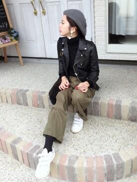 miisuuzuukiiさんの「■別注■beautiful people×MIDWEST ライダースジャケット(beautiful people|ビューティフルピープル)」を使ったコーディネート
