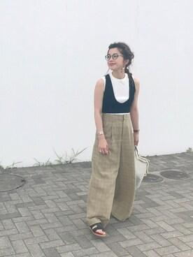 miisuuzuukiiさんの「《追加2》YOUNGOLSEN リブノースリーブTシャツ◆(IENA|イエナ)」を使ったコーディネート