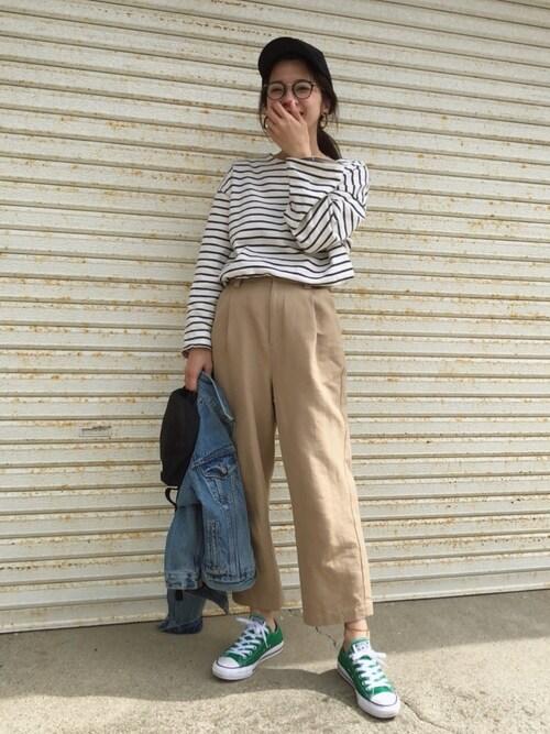 miisuuzuukiiさんの「via j(ヴィアジェイ)ボーダーロングTシャツ(via j)」を使ったコーディネート