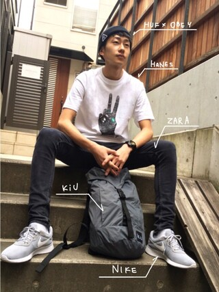 KiU|kiu-officialさんの「【HUF】USUAL BEANIE(HUF|ハフ)」を使ったコーディネート