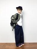 konabeさんの「配色ポケットデニムワイドパンツ2217(merlot|メルロー)」を使ったコーディネート