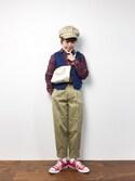 konabeさんの「【cozueコラボ】デニム&ゴブラン柄ベスト(MODE ROBE|モードローブ)」を使ったコーディネート