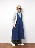 konabeさんの「カシュクールデニムジャンパースカート2091(merlot|メルロー)」を使ったコーディネート