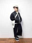 konabeさんの「ゆったり五分袖シンプルリブニットソー(coca|コカ)」を使ったコーディネート