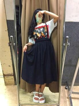 相沢梨紗さんの「Ray BEAMS / サス付 ギャザー ロング スカート(Ray BEAMS レイビームス)」を使ったコーディネート