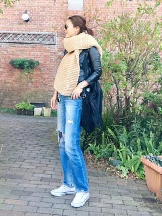 PATAZOさんの「【beautiful people】vintage leather riders jacket ライダースジャケット(beautiful people|ビューティフルピープル)」を使ったコーディネート
