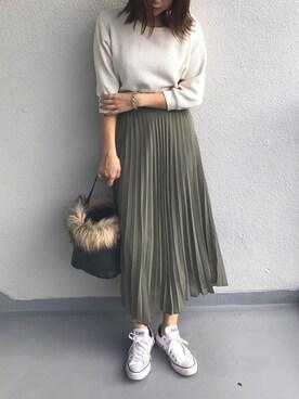 M.mさんの「WOMEN シフォンプリーツスカート(ユニクロ)」を使ったコーディネート