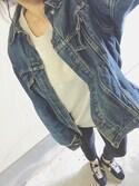 natsuさんの「WOMEN エクストラファインメリノクルーネックセーター(長袖)+E(ユニクロ|ユニクロ)」を使ったコーディネート