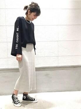 journal standard luxe 渋谷店|JOURNAL STANDARD 京都店スタッフ2さんのシャツ/ブラウス「ロゴプリントブラウス#(JOURNAL STANDARD|ジャーナルスタンダード)」を使ったコーディネート