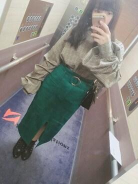 さわまりさんの「ベルト付フェイクスエードタイトスカート(REDYAZEL)」を使ったコーディネート