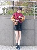 moekoさんの「フェイクファースリーブニット(MURUA|ムルーア)」を使ったコーディネート