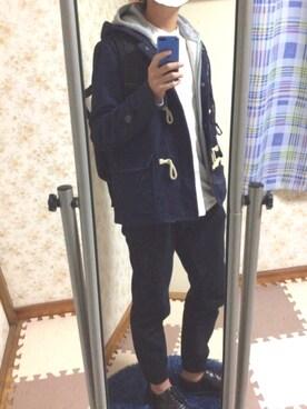 manaさんの「MEN プレミアムリネンスタンドカラーシャツ(長袖)(ユニクロ|ユニクロ)」を使ったコーディネート