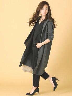 POURVOUS|sierraさんの「【結婚式・デイリー】ドレープデザイン セットアップパンツドレス ポケット付(PourVous)」を使ったコーディネート