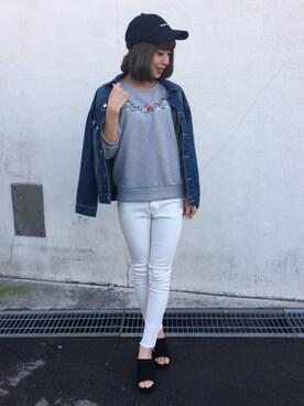 INGNI 東京本社|INGNIさんのTシャツ/カットソー「裏毛胸刺繍トップス7分袖/レディース-2017SS-(INGNI|イング)」を使ったコーディネート