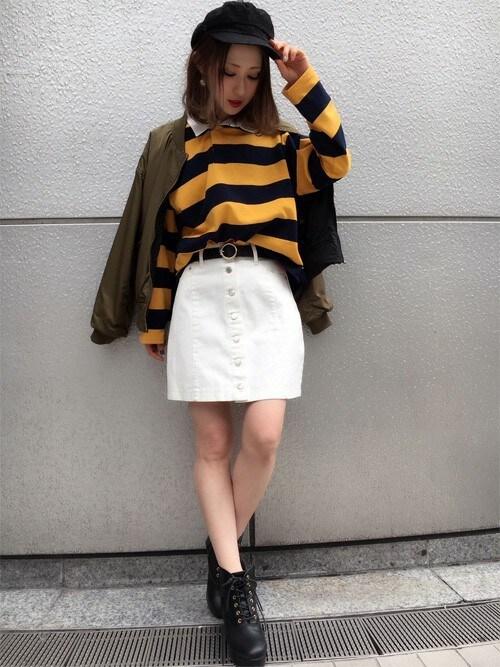 INGNIさんの「【春の新作】前ボタン台形スカート-2018SS-(INGNI)」を使ったコーディネート