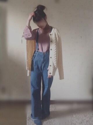 miiiさんの「【CM着用商品】サスペンダーツキ5Pワイドパンツ 475035(LOWRYS FARM|ローリーズ ファーム)」を使ったコーディネート