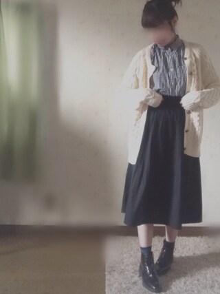 miiiさんの「ペーパーバックプリーツスカート(cepo|セポ)」を使ったコーディネート