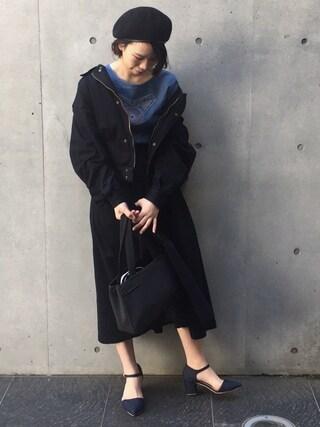 yurikoさんの「MIX RAMIE BERET(MOUSSY マウジー)」を使ったコーディネート