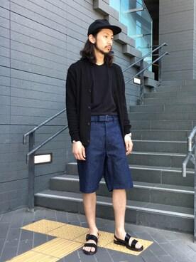 EN ROUTE GINZA|H.HoriさんのTシャツ/カットソー「Hanes(ヘインズ)  JAPAN FIT クルーネック アソート(HANES|ヘインズ)」を使ったコーディネート