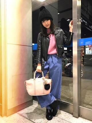 平 祐奈 | Yuna Tairaさんの「shrink leather riders(beautiful people|ビューティフルピープル)」を使ったコーディネート