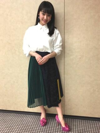 平 祐奈 | Yuna Tairaさんの「3Dジルプリーツスカート(UNITED TOKYO|ユナイテッドトウキョウ)」を使ったコーディネート