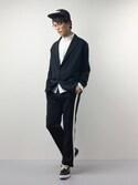 中嶋時男さんの「テーパードシルエットラインパンツ(MONO-MART|モノマート)」を使ったコーディネート