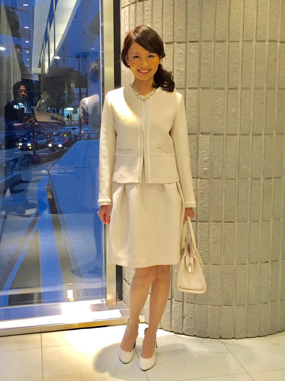 白ツイード スーツ おしゃれ 40代母親