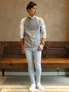 ビームス 阿倍野|mizutaniさんのTシャツ/カットソー「CHANTECLAIR×BEAMS LIGHTS / 別注 クレイジーボーダーTシャツ(BEAMS LIGHTS Men's|ビームスライツ メンズ)」を使ったコーディネート