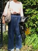 ハナコさんの「12.5オンスデニム 脇編み上げリボンワイドパンツ(CHILD WOMAN|チャイルドウーマン)」を使ったコーディネート