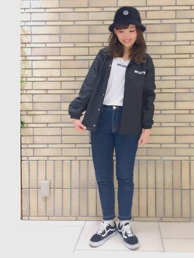 MILKFED. AT HEAVEN27 名古屋|MARIさんの「COACH JACKET bonjour(MILKFED.|ミルクフェド)」を使ったコーディネート