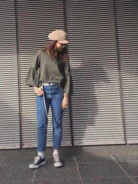 MILKFED. AT HEAVEN27 名古屋|MARIさんの「COTTON SEERSUCKER FLARE SLEEVE TOP(MILKFED.|ミルクフェド)」を使ったコーディネート