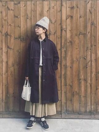 「ライナー付Aラインロングコート(conges payes ADIEU TRISTESSE)」 using this Kazumi looks