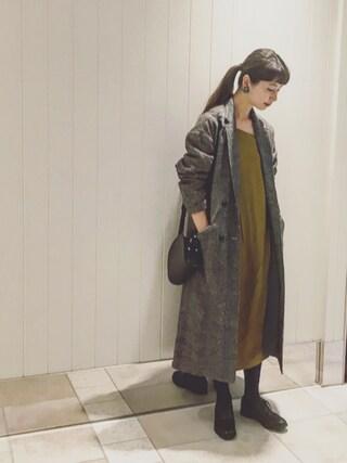 「SUNNY CLOUDS feat.Shuttle Notes kazumiと作ったダブルのチェスターコート<レディース>(IEDIT)」 using this Kazumi looks