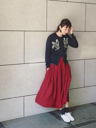 Kazumiさんの「ミュゲカーディガン(nesessaire|ネセセア)」を使ったコーディネート