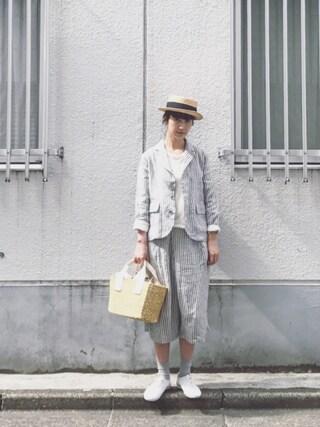 Kazumiさんの「i c h i リネンストライプ ジャケット(ichi|イチ)」を使ったコーディネート