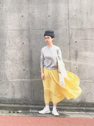 Kazumiさんの「グランジリネン ゴムシャーリングスカート(ADIEU TRISTESSE LOISIR|アデュートリステス ロワズィール)」を使ったコーディネート