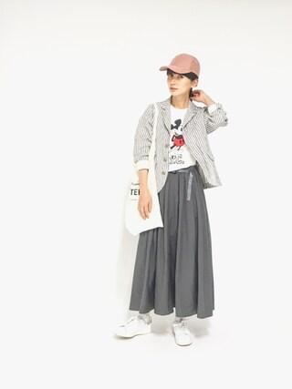 Kazumiさんの「ミッキーTシャツ(MIRROR OF Shinzone|ミラーオブシンゾーン)」を使ったコーディネート