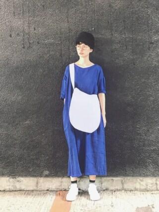 Kazumiさんの「サニークラウズ feat.Shuttle Notes kazumiのまっ青ワンピース<レディース>(Sunny clouds|サニークラウズ)」を使ったコーディネート