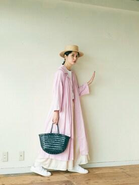 Kazumiさんの「製品染め     80/-綿サテン  パジャマワンピース(bulle de savon ビュル デ サボン)」を使ったコーディネート
