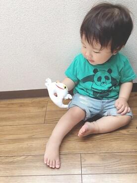 keee◡̈♥︎さんの「セットインTシャツ 波乗りパンダ (80~140cm)(JIPPON|ジポン)」を使ったコーディネート