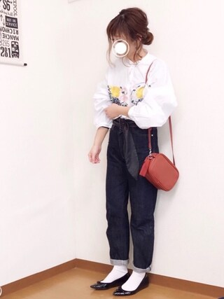 「JAPANファブリックボーイフィットデニム(AZUL by moussy)」 using this welina* looks