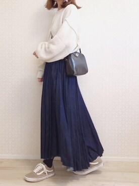 welina*さんのデニムスカート「【人気】デニムプリーツ  スカート プリーツスカート(Ne-net ネ・ネット)」を使ったコーディネート