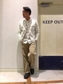 岡山さんの「ノーカラーデニムジャケット(CIAOPANIC TYPY|チャオパニックティピー)」を使ったコーディネート