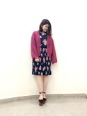 Natsumi Sudoさんの「ローズプリントプリーツワンピース(Supreme.La.La)」を使ったコーディネート