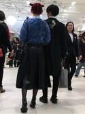 光優さんの「フェイクレザープリーツスカート(LE CIEL BLEU|ルシェルブルー)」を使ったコーディネート