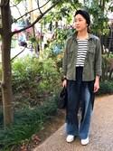 SaKiY☺︎さんの「ミリタリーシャツジャケット(E hyphen world gallery|イーハイフンワールドギャラリー)」を使ったコーディネート