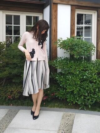 Rose Tiara | onomimonoさんのスカート「Rose Tiara マルチストライプアシンメトリーヘムスカート」を使ったコーディネート